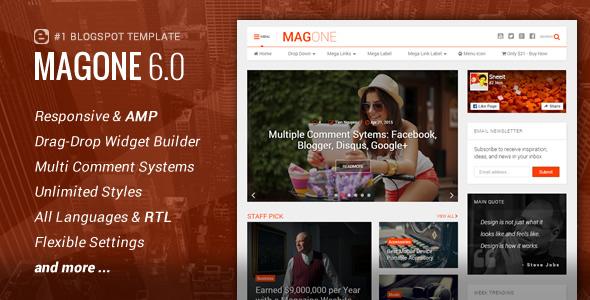 MagOne Blogger Magazine Template v6.2.6