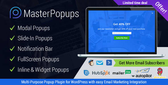 Master Popups v2.1.8 - WordPress Popup Plugin for Lead Generation. Get Subscribers and Grow Your Email List