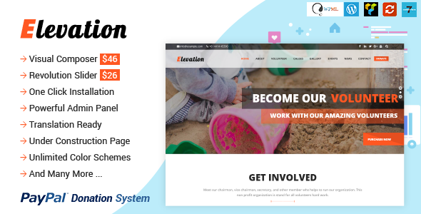 ELEVATION v2.2.5 - Charity/Nonprofit/Fundraising WP Theme