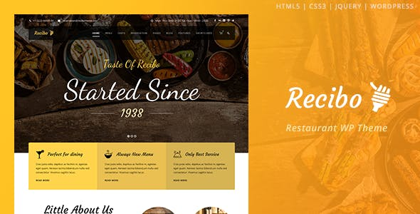 Recibo v1.2.1 - Restaurant / Food / Cook WordPress Theme