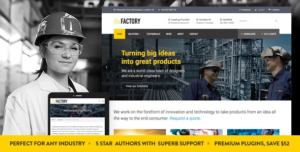Factory v1.7.1 - Industrial Business WordPress Theme
