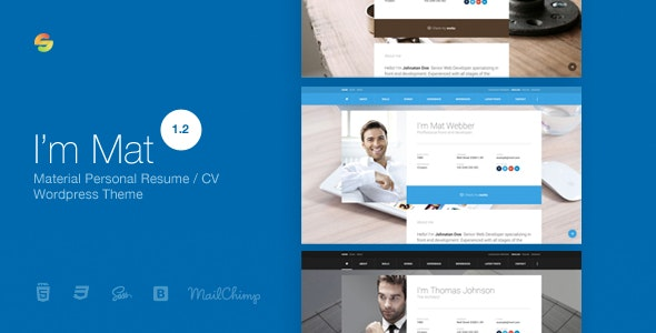 I am Mat v1.2 - Material Personal Resume / CV vCard WordPress Theme