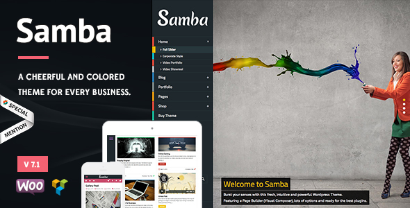 Samba v7.4 - Colored WordPress Theme