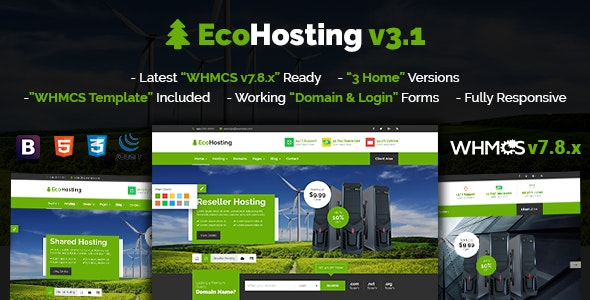 EcoHosting v3.1 - Responsive Hosting and WHMCS WordPress Theme