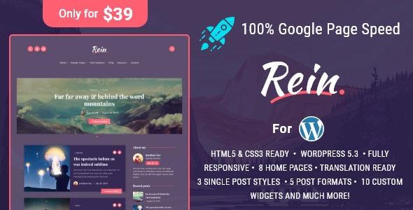 Rein v1.4.0 - Minimal Lightweight Dark Theme for WordPress