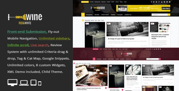 Wine Masonry v2.8 - Review & Front-end Submission WordPress Theme