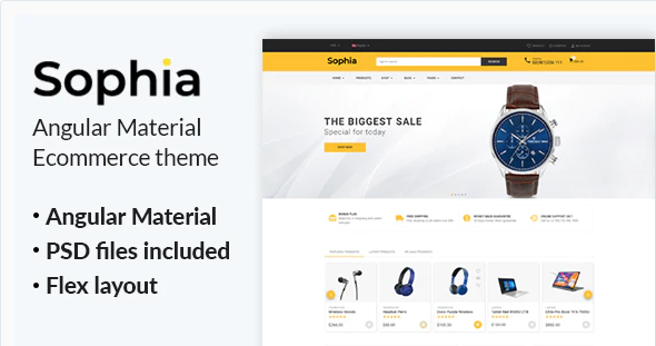 Sophia - Angular Material eCommerce Template 16 February 20