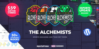Alchemists v4.2.0 - Sports, eSports & Gaming Club and News WordPress Theme (NULLED)