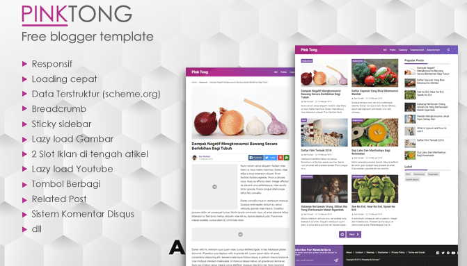 PinkTong – Template Blogger High Speed v1.3