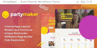 PartyMaker v1.1.3   Event Planner & Wedding Agency WordPress Theme