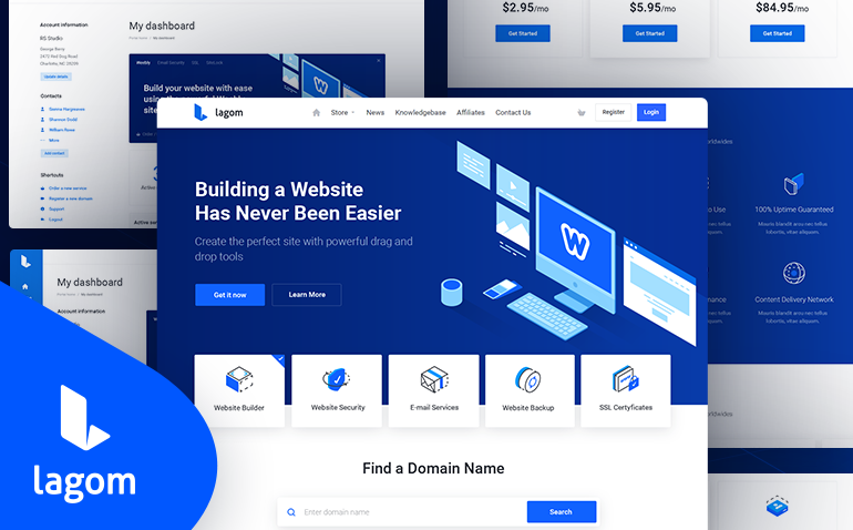 Lagom WHMCS Theme + Email Template v1.5.2 Nulled