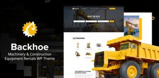 Backhoe - Heavy Equipment Rentals WordPress Theme
